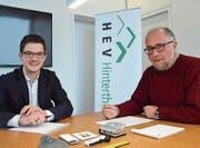 Der neue Geschäftsstellenleiter Gabriel Walzthöny mit HEV-Präsident Matthias Erne. (Bild: Christoph Heer)
