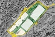 Die neue Olma-Halle 1 wird doppelt so gross wie die Halle 9.1 und hat eine Fläche von zwei Fussballfeldern. (Bild: Vermessungsamt der Stadt St. Gallen)