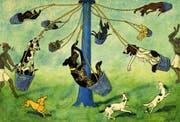 Doggen im Glück: In Kreidolfs Buch «Das Hundefest» (1928) ist das «Karussell» ein Vorgeschmack künftiger Festfreuden – und auf das Ende im Hundehimmel. (Bild: Katalog)