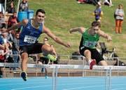 Luca Marticke (rechts) gewann über 400 m Hürden die Silbermedaille. Seine 53,23 Sekunden bedeuteten Thurgauer Rekord. (Bild: Jörg Oegerli)