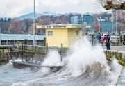 Der Dezember war am Bodensee überdurchschnittlich warm und sonnig. Gestern hat das Wetter aber gezeigt, dass es auch anders kann. Die Temperaturen sanken rasch, starker Wind liess den Bodensee gegen die Rorschacher Hafenmauern branden. (Bild: Urs Bucher)