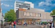 So wird sich die neue Coop-Verkaufsstelle in Rorschach nach dem Umbau 2018 präsentieren. (Bild: Visualisierung: fg architektur)