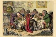 «Germans Eating Sour-Krout» und benehmen sich aus Sicht eines Engländers ziemlich daneben. (Bild: James Gillray 1803 / The British Museum)
