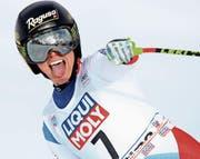 «Diesmal hatte ich Glück», sagte Lara Gut nach ihrem Sieg. (Bild: Alessandro Trovati/EPA (Cortina D'Ampezzo, 21. Januar 2018))