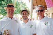 Bei ihnen spielt die fasnächtliche Musik: Büffel Koch, Kevin Wirz und Andy Heller. (Bilder: Chris Marty/frauenfeld-events.ch)