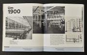 Entlang einer Zeitachse unten auf einigen Buchseiten werden wichtige Stationen der Firmengeschichte dargestellt. (Bild: Heini Schwendener)