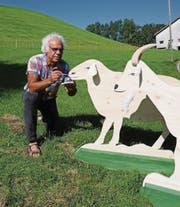 Schaf und Ziege bereitete Hansjürg Hörler für die Ausstellung an der diesjährigen Olma vor. (Bild: mbr)