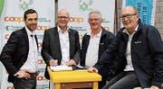Verbund für ein tolles Fest: Markus Brunner, Coop; Walter Eggenberger, TKB; Willi Hauser, Sponsoring OK; Jürg Kocherhans, OK-Präsident. (Bild: PD)