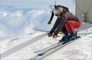 Skicrosserin Nicole Frei (vorne) bei einem der Trainingsläufe im vergangenen Jahr. (Bild: pd)