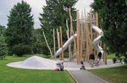 Die IG Spielinsel will zwischen dem Altersheim Heinrichsbad und dem Sportplatz einen Begegnungsort für Jung und Alt schaffen. (Bild: Visualisierung: pd)