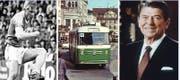 Sie standen 1986 hoch im Kurs: (v.l.) FCSG-Spieler Manfred Braschler, die grünen St.Galler Busse und US-Präsident Ronald Reagan. (Bild: Archiv/Privatsammlung Reto Voneschen/Keystone)