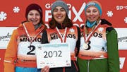 Kategorie 2002, Mädchen: 1. Nadine Langenegger aus Waldstatt, 2. Nina Herren aus Tuttwil TG, 3. Lea Kalberer aus Tscherlach SG. (Bild: PD)
