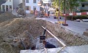 Die Arbeiten zur Behebung der Schäden an den Leitungen laufen. (Bild: Leserreporter)