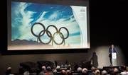 Jean-Philippe Rochat, Präsident von «Sion 2026», bei der Präsentation des Projekts. (Bild: Jean-Christophe Bott/Keystone (Lausanne, 8. Juni 2017))