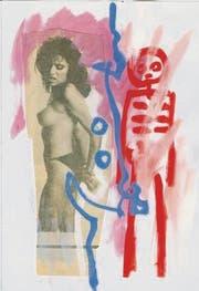 Drei Collagen, die Urs Graf angefertigt hat, und ein Bild vom Künstler selber an seiner Buchvernissage. (Bilder: Urs Graf/Mathias Frei)