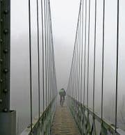 Eines der ausgestellten Bilder im «Frohsinn»: Ein Radfahrer auf dem Ganggelisteg im Nebel. (Bild: PD/Franz Müller Riesen)