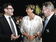 Finanzdirektor Jakob Stark, Justizdirektorin Cornelia Komposch und Nationalrat Markus Hausammann. (Bild: Donato Caspari (Donato Caspari))