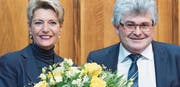 In Ostschweizer Hand: Ivo Bischofberger übergab zu Beginn der Wintersession das Ständeratspräsidium an die St. Gallerin Karin Keller-Sutter. (Bild: Alessandro Della Valle/Keystone)
