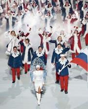 Das russische Team an der Olympia-Eröffnungszeremonie 2014 in Sotschi. (Bild: Barbara Walton/EPA)