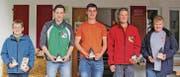 Erfolgreiche Schützen: Mike Tinner, Flurin Kressig, Christoph Lenherr, Ruedi Eggenberger und Roman Eggenberger. (Bild: pd)