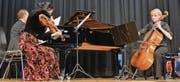 Der Pianist Jean Lemaire, die Violinistin Raikan Eisenhut und die Cellistin Beate Reitze-Buj spielten an der Matinee der Musikschule Werdenberg. (Bild: Mengia Albertin)