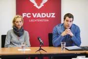 FC Vaduz-Geschäftsführer Patrick Burgmeier (rechts) zusammen mit FC Vaduz-Präsidentin Ruth Ospelt. (Bild: Eddy Risch)