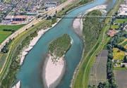 So könnte der Rhein aussehen. Das Bild ist eine Visualisierung und zeigt das Gebiet oberhalb von Diepoldsau. (Bild: pd)