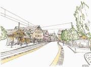Auf dem neu gestalteten Strassenabschnitt vor der Bahnhaltestelle soll künftig Tempo 30 gelten. (Bild: PD)