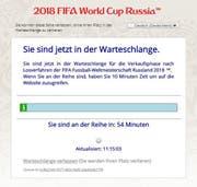 Virtuelle Warteschlange für den Vorverkauf zur Fussball-WM 2018,. (Bild: Screenshot/Fifa)