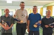 Die ersten vier des Rheintaler-Cups: Albert Kind, Marcel Büsser, Mischa Demjen und Pasquale Gaeta (von links). (Bild: PD)