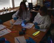 Die Schülerinnen und Schüler bringen die chemische Mischung zum Leuchten.