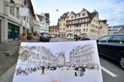 Visualisierung des Marktplatzes nach der Neugestaltung. Die Volksabstimmung ist im Herbst vorgesehen. (Bild: Max Eichenberger)