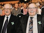 Der ehemalige TKB-Geschäftsstellenleiter Emil Simon und Ex-Nationalrat Paul Rutishauser. (Bild: Donato Caspari (Donato Caspari))