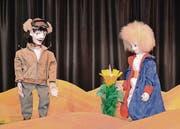 Der Erzähler und der kleine Prinz beim Dialog über die ganz besondere Blume.