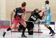 Thurgaus Goalie Yanick Altwegg war im zweiten Halbfinalspiel in Sarnen ein grosser Rückhalt. (Bild: Mario Gaccioli (Weinfelden, 25. Februar 2018))