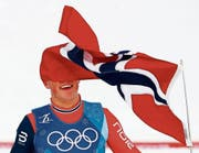 Johannes Hösflot Klaebo holte in Pyeongchang bisher drei Goldmedaillen: im Teamsprint, im Sprint und mit der Staffel. (Bild: Matthias Schrader/AP)