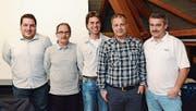 Die Vorstandsmitglieder des AKFV: Patrick Forrer, Rocco Lavanga, Präsident Marcel Maier, Patrick Eugster und Josef Raimann. (Bild: KER)
