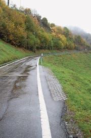 Unterhalb des Weilers Gurtberg ist die Krinauerstrasse sehr schmal. (Bild: Martin Knoepfel (Krinau, 26. Oktober 2016))