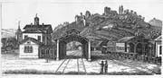 Der Bahnhof Baden 1847. Im Hintergrund der unter der Leitung von Jakob Sulzberger gesprengte Schlossbergtunnel. (Bild: PD)