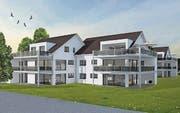 Im Mai 2016 wird das erste der beiden Minergie-zertifizierten Mehrfamilienhäuser bezugsbereit sein, das zweite im Oktober 2016. (Bild: Visualisierung: pd)