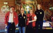 Die Sieger (von links): Benno Rist, SG Goldach, Pistole 50 m, Doris Alther, SV Eggersriet-Grub, Gewehr 300 m, Uschi Rüegg, SG Goldach, Pistole 25 m, und Christian Schmid, SV Eggersriet-Grub, Junioren Gewehr 300 m. (Bild: Natascha Winter)