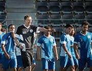 Gestern trainierten die Spieler das erste Mal unter dem neuen Übungsleiter Konrad Fünfstück. (Bild: Benjamin Manser)