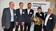 Neu im Vorstand des Arbeitgeberverbandes Sarganserland-Werdenberg: Thomas Ambühl, Markus Exer, Daniel Grünenfelder, Jeanette Romer und Nicola Sanzo (von links). (Bild: Jerry Gadient)