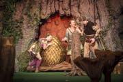 """Im Stück """"Alana und das Drachenei"""" werden Drachen wegen ihrer glänzenden Schuppen gejagt. (Bild: Urs Bucher)"""