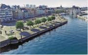 Hafenplatz neu gestalten, provisorisches Hafengebäude ersetzen, Kornhaus innen umbauen: Das stellt der Rat zur Diskussion. (Bild: Hardy Buob)