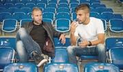 Dzengis Cavusevic (links) und Roberto Rodriguez erwarten gegen den früheren Arbeitgeber St. Gallen eine spezielle Partie. (Bild: Samuel Schalch (Saalsporthalle Zürich, 24. Oktober 2016))