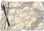 Das Ausserrhoder Richtschwert über einem Kartenausschnitt von 1834, rot eingekreist der Richtplatz bei Trogen. (Bild: Illustration: Silvana Hügli; Quelle: Staatsarchiv AR)