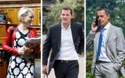 Isabelle Moret, Pierre Maudet und Ignazio Cassis wollen für die FDP in den Bundesrat (Bild: (Keystone/Keystone/EQ))