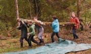 Gemeinsam anpacken – Die Jugendlichen von der Klasse 1bNP der Kanti Wil säubern ein Waldstück in der Mistelegg. (Bilder: Urs M. Hemm)