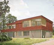 Die Visualisierung des Doppelkindergartens zeigt die Materialien: Beton für das Erdgeschoss, Holz für das Obergeschoss. (Bild: PD)